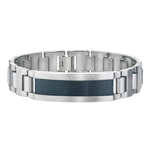Men's Tungsten ID-style Bracelet with Black Carbon Fiber Center By Ever One