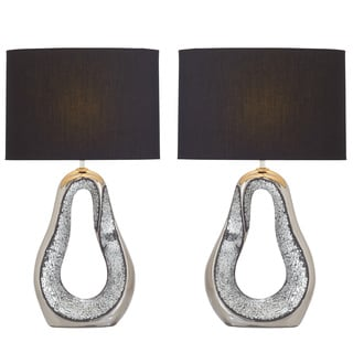 Urban Designs Kai Silver Ceramic Mosaic Table Lamp (Set of 2)