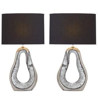 Urban Designs Kai Silver Ceramic Mosaic Table Lamp (Set of 2)