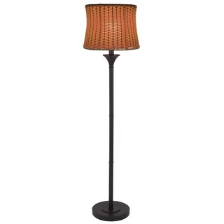 River of Goods Brown Metal/Plastic 59.5-inch Basketweave Outdoor Floor Lamp