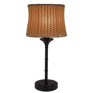 River of Goods Brown Metal/Plastic 25.25-inch Outdoor Basketweave Table Lamp