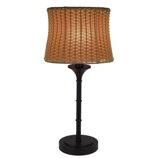 River of Goods Brown Metal/Plastic 25.25-inch Outdoor Basketweave Table Lamp