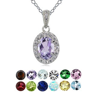 Glitzy Rocks Sterling Silver Gemstone Birthstone Oval Halo Necklace