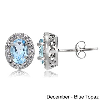 Glitzy Rocks Sterling Silver Gemstone Birthstone Oval Halo Stud Earrings (More options available)