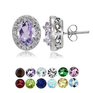 Glitzy Rocks Sterling Silver Gemstone Birthstone Oval Halo Stud Earrings (Option: May)