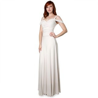 Evanese Women's Off-the-Shoulder Long Gown Medium Size in Creme (As Is Item)