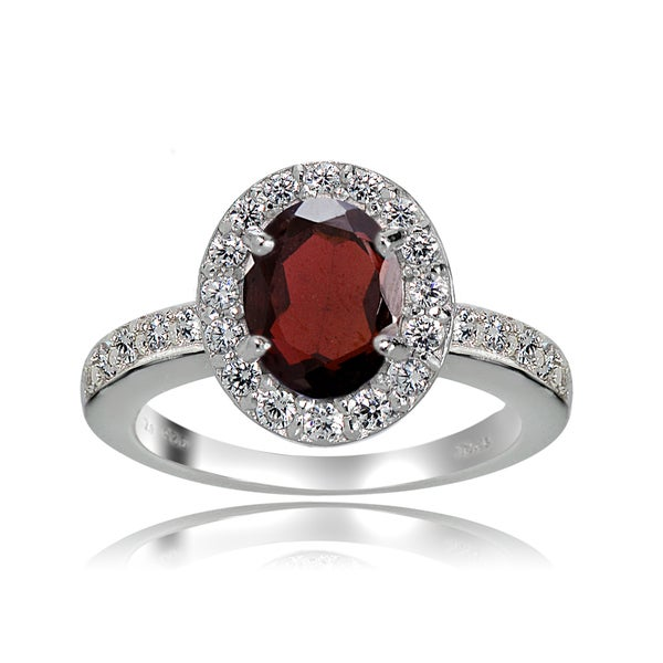 Glitzy Rocks Sterling Silver Gemstone Birthstone Oval Halo Ring