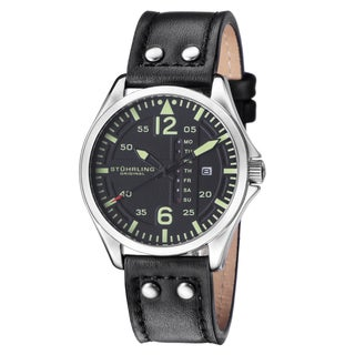 Stuhrling Original Men's Quartz Aviater Watch with Black Leather Strap