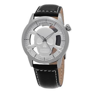 Stuhrling Original Men's Renegade Swiss Quartz Skeleton Black Leather Strap Watch https://ak1.ostkcdn.com/images/products/12113421/P18974311.jpg?impolicy=medium