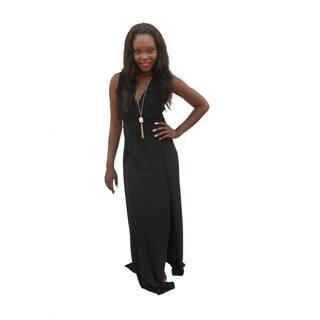 Hadari Women's V-neck Sleeveless Side Slit Maxi Dress (Option: Black)|https://ak1.ostkcdn.com/images/products/12113425/P18974323.jpg?impolicy=medium