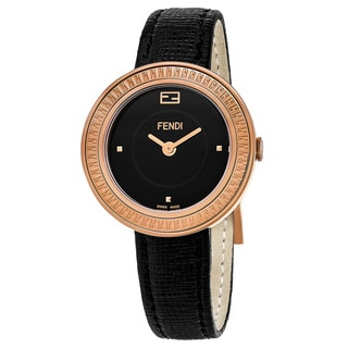 Fendi Women's F354531011 'My Way' Black Dial Black Leather Strap Rose Goldtone Swiss Quartz Watch
