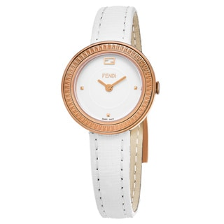 Fendi Women's F354524041 'My Way' White Dial White Leather Strap Rose Gold Swiss Quartz Watch