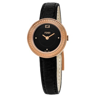 Fendi Women's F354521011 'My Way' Black Dial Black Leather Strap Rose Gold Swiss Quartz Watch