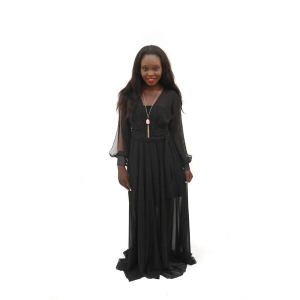 product long mesh dress with shoulder neckline