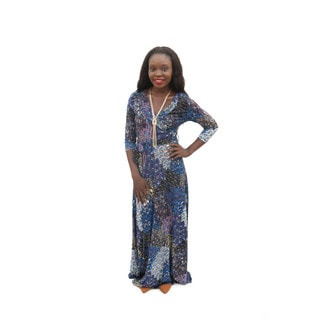 Hadari Women's V-neck 3/4 Sleeves Paisley Maxi Dress