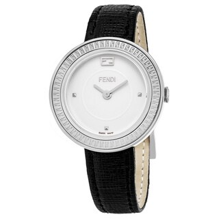 Fendi Women's F354034011 'My Way' Silver Dial Black Leather Strap Swiss Quartz Watch