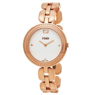 Fendi Women's F351534000 'My Way' White Dial Rose Goldtone Stainless Steel Swiss Quartz Medium Watch