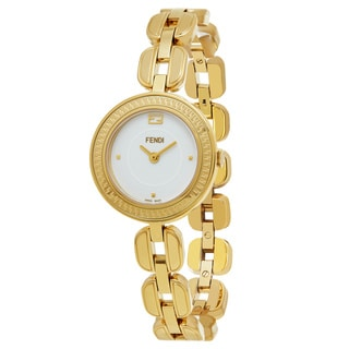 Fendi Women's F351424000 'My Way' White Dial Yellow Goldtone Stainless Steel Swiss Quartz Watch