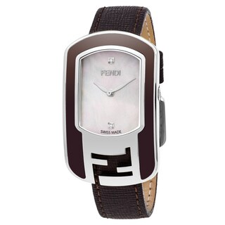 Fendi Women's F312034521D1 'Chameleon' Mother of Pearl Diamond Dial Brown Leather Strap Swiss Quartz Watch