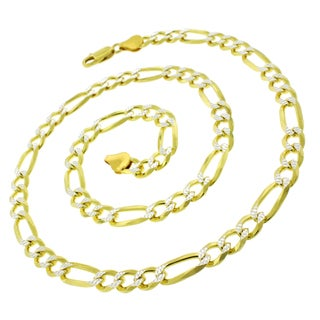 ITProLux Gold-plated Sterling Silver Figaro Diamond Cut Necklace Chain