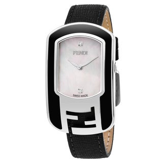 Fendi Women's F311034511D1 'Chameleon' Mother of Pearl Diamond Dial Black Leather Strap Swiss Quartz Watch