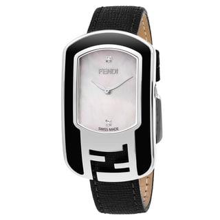 Fendi Women's F311034511D1 'Chameleon' Mother of Pearl Diamond Dial Black Leather Strap Swiss Quartz Watch