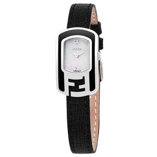 Fendi Women's F311024511D1 'Chameleon' Mother of Pearl Diamond Dial Black Leather Strap Swiss Quartz Small Watch