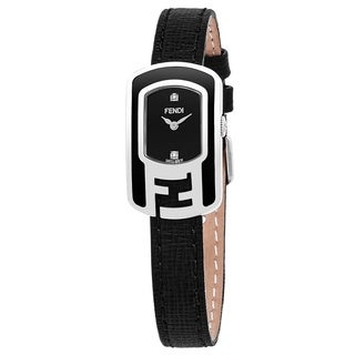 Fendi Women's F311021011D1 'Chameleon' Black Diamond Dial Black Leather Swiss Quartz Small Watch