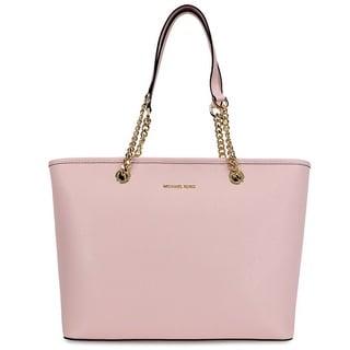 Michael Kors Jet Set Saffiano Blossom Pink Leather Top Zip Tote Bag