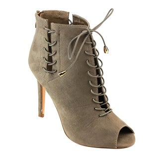 Jacobies Women's Faux-suede Peep-toe Ankle Booties
