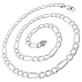 0.925 Sterling-silver 7.5-millimeter Solid Figaro Link Diamond-cut ITProLux Necklace Chain