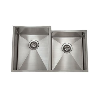 16-gauge Stainless Steel Double Large and Small Basin Rectangular 1/2 Radius Undermount Sink