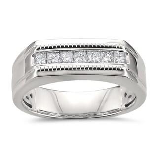 Montebello Jewelry 14k White Gold Men's 1/2ct TDW White Diamond Wedding Band