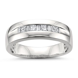 Montebello Jewelry 14k White Gold Men's 1/2ct TDW White Diamond Wedding Band (H-I, SI2-I1)