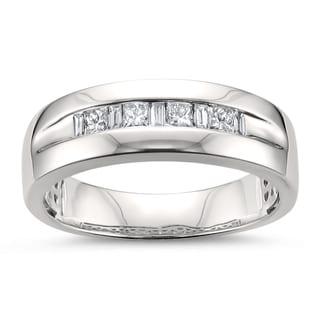 Montebello Jewelry 14k White Gold Men's 1/2ct TDW White Diamond Wedding Band (H-I, SI2-I1)