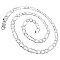 "Sterling Silver Italian 8.5mm Figaro Link Diamond-Cut ITProLux Solid 925 Necklace Chain 20"" - 30"""