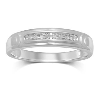 Unending Love 10k White Gold .05 ctw Diamond Men's Wedding Band