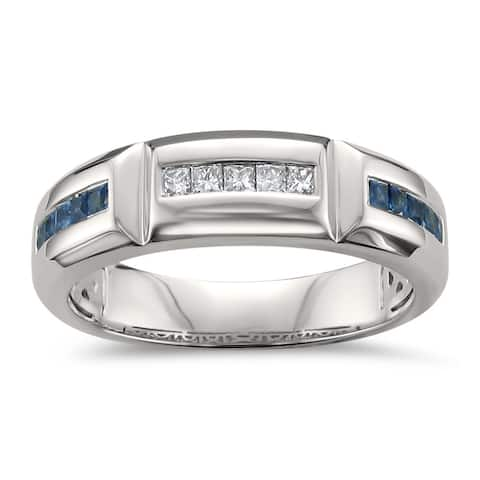 Montebello 14KT White Gold Men's 3/5ct Blue Sapphire and Diamond Band