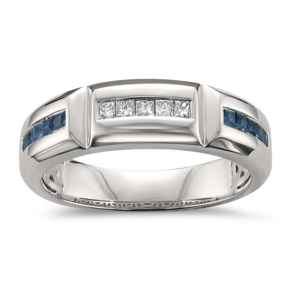 Mens Wedding Bands Montebello Jewelry 14k White Gold Menx27s 2 5ct Blue Sapphire And