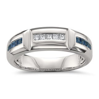 Montebello Jewelry 14k White Gold Men's 2/5ct Blue Sapphire and 1/5ct TDW White Diamond Wedding Band