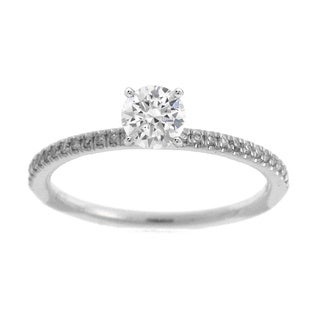 Azaro 14K White Gold 1/10ct TDW Diamond 4-Prong Engagement Ring (H, SI1-SI2)