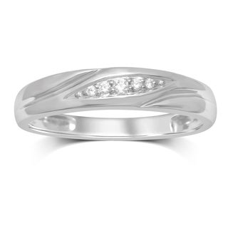 Unending Love 10k White Gold .07-carat IJ I3 Diamond Slant Row Accent Men's Ring