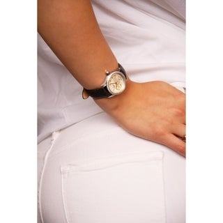Burgi Women's Quartz Multifunction Crystal Leather Black Strap Watch