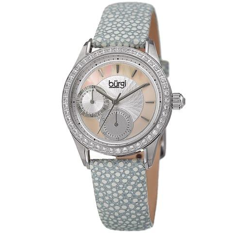 Burgi Women's Quartz Multifunction Crystal Leather Gray Strap Watch