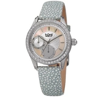 Burgi Women's Quartz Multifunction Crystal Leather Gray Strap Watch