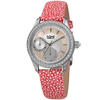 Burgi Women's Quartz Multifunction Crystal Leather Pink Strap Watch