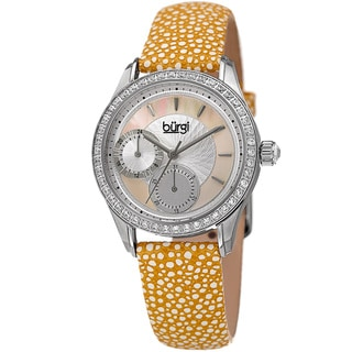 Burgi Women's Quartz Multifunction Crystal Leather Yellow Strap Watch