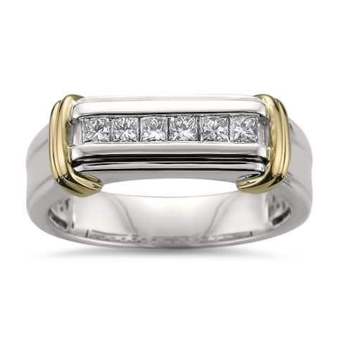 Montebello Jewelry 14k Two-tone Gold Men's 1/2ct TDW White Diamond Wedding Band