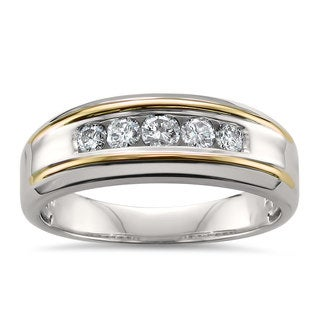 Montebello Jewelry 14k Two-tone Gold Men's 1/2ct TDW White Diamond Wedding Band