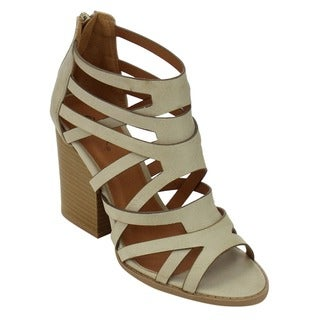 Qupid Women's Tan/Black Faux Leather Strappy Sandals